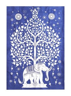 Elephant Tapestry, Dorm Tapestry, Elephant Art, White Elephant, Mandala Elephant, Indian Tapestry, Tapestries, Worli Painting, Tree Of Life Painting