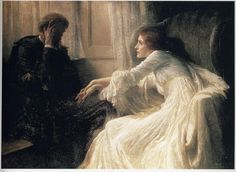 Frank Dicksee: The Confession  Oil painting. 1896.