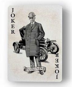 Innovation Playing Cards by Jody Eklund: Joker - Henry Ford Unique Playing Cards, Playing Cards Art, Joker Playing Card, Joker Card, Play Your Cards Right, Jokers Wild, Card Companies, Golden Spike, Graphic Artwork