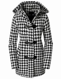 Doublju Womens Hooded Houndstooth Leather Trim Zip-up Toggle Coat Black Large Vogue Fashion, Look Fashion, Fashion Outfits, Pretty Outfits, Cute Outfits, Houndstooth Coat, Mantel, Dress To Impress, Dame