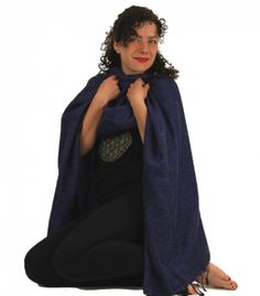 Meditatie omslagdoek effen donkerblauw - 200x80 cm - bij Patipada