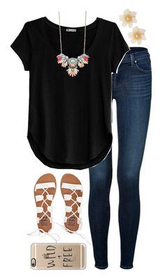 A fashion look from April 2016 featuring basic tee, J Brand and beach sandals. Browse and shop related looks. Teenage Girl Outfits, Teen Fashion Outfits, Swag Outfits, Mode Outfits, Look Fashion, Outfits For Teens, Fall Outfits, Summer Outfits, Looks Plus Size