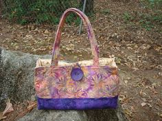 Purple and Pink Floral Quilted Purse Bag by Jackiesewingstudio