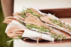 JL DESIGNS: a garden party bridal shower with blueberries, herbs + books | love the wooden cutlery plus the rosemary. mmmm