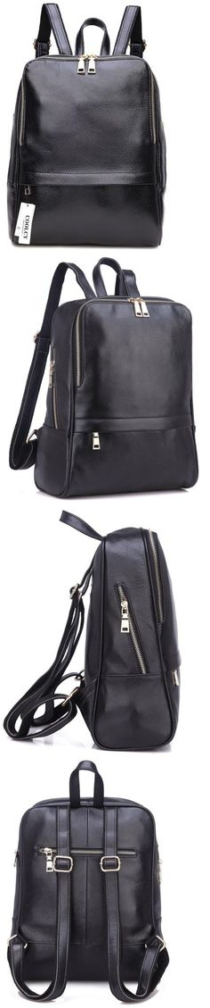 Backpacks and Bookbags 169292: Coolcy Hot Style Women Real Genuine Leather Backpack Fashion Bag Black -> BUY IT NOW ONLY: $96.22 on eBay!