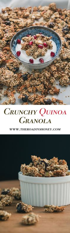 Use dates instead of honey, and flax eggs Granola gets a healthier makeover with quinoa & other wholesome clean ingredients such as pumpkin seeds, cherries, chia seeds & coconut. Brunch Recipes, Breakfast Recipes, Snack Recipes, Dessert Recipes, Desserts, Clean Eating Breakfast, Breakfast For Kids, Breakfast Ideas, Quinoa