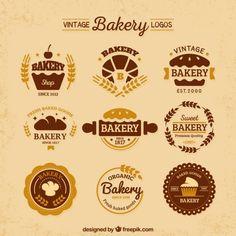 Variedade de logotipos de padaria planas do vintage Vetor grátis