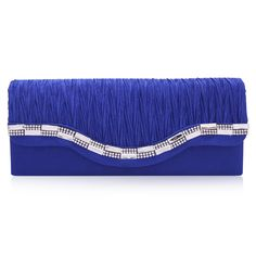 "Damara Womens Distinctive Wrinkle Satin Designed Cocktail Clutch Handbag,Blue. A soft satin material evening bag for many occations such as wedding party or a cocktail evening party. The interior offers just enough room for your most important items when you are carrying options as a hand held clutch. Dimensions:22cm*9cm*5cm(8.5""*3.4""*2""inches). Chain length 112cm/44inches. NOTE:Different people with different measurement,so it may exist 2-3cm measurement errors.Hope you will not mind it...."