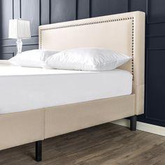 Zinus Julio 43 Deluxe Upholstered Nailhead Trim Platform Bed Queen Walmart Com In 2020 Platform Bed Mattress
