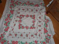 Vintage Tablecloth 50s strawberry strawberries Gray Bows cottage shabby Flowers