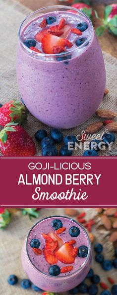 Goji berries strawberries blueberries oh my! Get you berry fix with this super antioxidant berryfull smoothie. Loaded with superfoods you'll feel boosted naturally all day long! Goji Berry Recipes, Nut Recipes, Almond Recipes, Healthy Recipes, Meatless Recipes, Detox Recipes, Healthy Eats, Healthy Snacks, Berry Smoothie Recipe