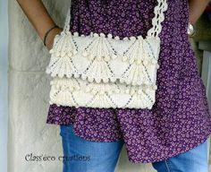 sac bandoulière tricoté en laine blanc cassé : Sacs bandoulière par class-eco