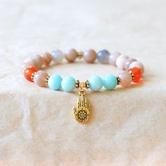Wrist Mala Bracelet, Yoga Beads, Intention Bracelet, Spiritual Jewelry, Sunstone, Amazonite, Carnelian - Energizing, Healing Jewelry