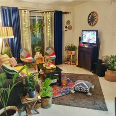 We're totally adoring the vibes of this living room by 😍 The perfect place for our So soothing and so… Indian Room Decor, Ethnic Home Decor, Bedroom Furniture Design, Home Decor Furniture, Boho Living Room, Living Room Decor, Pinterest Room Decor, Small Balcony Decor, Wall Painting Decor
