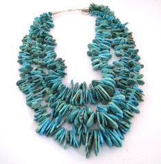 Three Strand Turquoise Necklace.  Gorgeous turquoise stones strung by graduated sizes in three full strands.