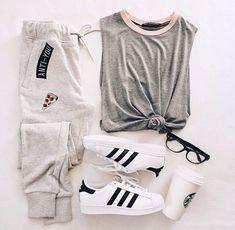 adidas, outfit, and fashion Bild Teenage Outfits, Lazy Outfits, Cute Casual Outfits, Teen Fashion Outfits, Sporty Outfits, Outfits For Teens, Summer Outfits, Girl Outfits, Hipster Outfits