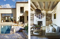 This Pin was discovered by Kelly Ishtar. Discover (and save!) your own Pins on… French Farmhouse, Rustic Farmhouse, Outdoor Spaces, Outdoor Decor, Garden Architecture, Spanish Colonial, Coastal Living, Future House, Exterior