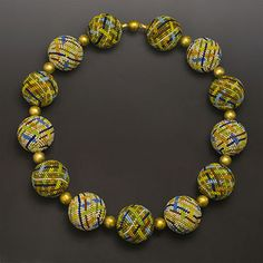beaded bead necklace with vermeil accents by Elaine Felhandler