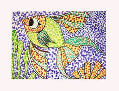 POINTILLISM by heidabjorg, via Flickr (use a coloring page and just fill in with dots-younger kids)