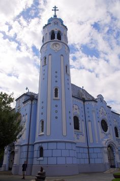 "church of St. Elizabeth in #Bratislava, #Slovakia also called the ""Blue Church"""