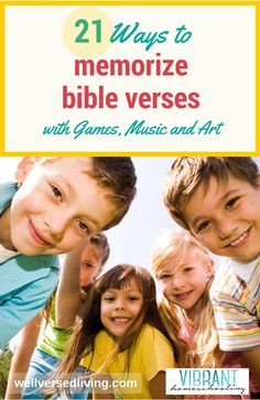the idea to memorize Bible verses make you shudder…or smile? Scripture memory can be fun! Try these engaging songs, games, and impressionistic art ideas with your kids - and discover how quickly (and joyfully) you'll become a well-versed family. Sunday School Lessons, Lessons For Kids, Bible Lessons, Bible Games, Bible Activities, Activities For Kids, Church Activities, Church Games, Kids Church