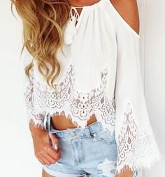 Key lace white top from Colors of Aurora