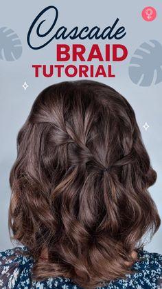 Vintage Hairstyles, Cute Hairstyles, Hairstyle Ideas, Short Hair Updo, Short Hair Styles, Cascade Braid, Bridal Hair Tutorial, Hair And Makeup Tips, Hair Tips