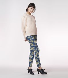 love the new #floral jeggings from g.u. #japan #uniqlo #fashion