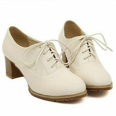 White oxford heels