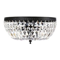 The Jessica three-light crystal basket flush mount chandelier makes a gracious accent in traditional and modern homes. A dazzling array of round and long-cut clear crystals ensures that this light fixture illuminates your home with a warm glow. Flush Mount Chandelier, Led Flush Mount, Flush Mount Ceiling, Flush Mount Lighting, Chandelier Lighting, Chandeliers, Black Chandelier, Lighting Store, Hallway Lighting