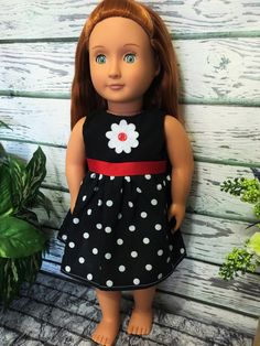 American Made Girl Doll Dress Black with by sassydollcreations