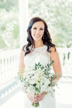 Southern bridal style, half up-do, curled hair, wedding hairstyle ideas // Rachel Red Photography