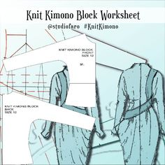 Knit Kimono Block Worksheet (download) #wellsuitedblog #patternpuzzles #creativepatternmaking #sewingpatterns #vintagepatterns #PDFsewingpatterns #digitalgarmentblocks #plussize #studiofaro #patternmakinginstructions #patternmakingworksheets