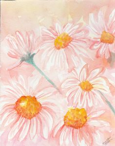 Shasta Daisies  Watercolor Painting White by SharonFosterArt, $30.00