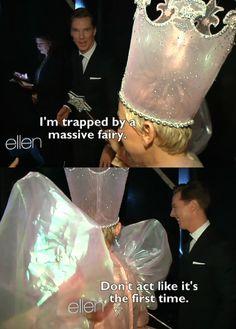 benedict cumberbatch being trapped by ellen degeneres.