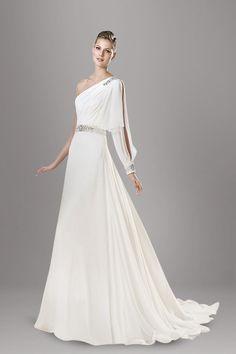 vintage-one-shoulder-split-sleeve-a-line-chapel-train-chiffon-wedding-dress-1.jpg (800×1200)