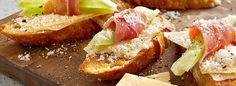 Wisconsin Parmesan Crostini with Prosciutto-Wrapped Melon Recipe -