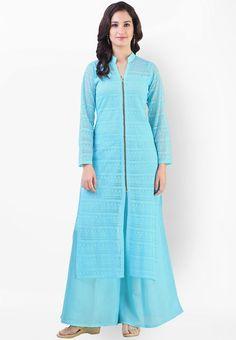 Light Aqua Net Jacquard Readymade Long Kurta with Palazzo Women Salwar Suit, Salwar Suits Online, Salwar Kameez Online, Western Dresses, Western Outfits, Vetements Clothing, Kurta Palazzo, Churidar, Cold Shoulder Dress