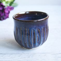 Rustic Handcrafted Yunomi Teacup with Carved Decoration in Brown and Blue Glaze Made in USA