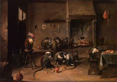 a witty painting by Flemish artist David Teniers II 'Monkeys in the Kitchen' (mid 1630s) | Skillful animalist, Teniers created a mockery of society: monkey the leader in a fancy red beret is lifted on a stool; just like people, monkeys are engorging, drinking and playing cards. Have a closer look at Teniers's paintings: an essential element of many of them is a drawing of a laughing man's face hanging on the wall, which is a kind of artist's 'trademark'