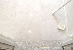 Marble LOOK-ALIKE! I LOVE Carrara marble floor tile... but I didn't want the maintenance...  I finally found a great porcelain option!!