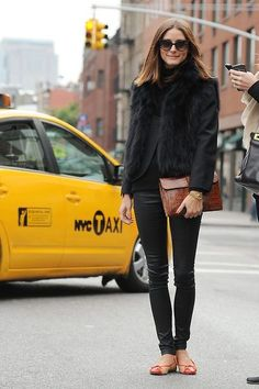 Black Apparel w/ Brown Leather Clutch & Daring Colored Flats