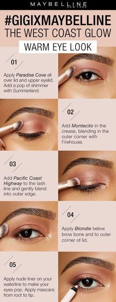 The West Coast Glow collection from gigixmaybelline All Things Beauty, Beauty Make Up, Hair Beauty, Beauty Secrets, Beauty Hacks, Eye Make Up, West Coast, Pacific Coast, Skin Makeup
