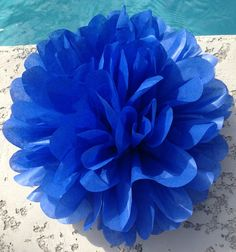 Royal Blue   1 tissue paper pom ..... baby shower / wedding / party decor / birthday / bridal shower / nursery