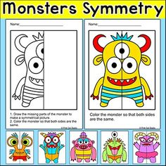 Practice symmetry with these engaging differentiated worksheets by drawing and coloring these silly monsters! Perfect for math centers, morning work, early finishers, substitutes and homework. This fun activity includes 6 monsters, each with three levels of difficulty.