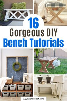 16 Beautiful Homemade DIY Benches- You're not going to want to miss these beautiful homemade DIY benches! They are easy to make and would look beautiful in any home! | #diyProjects #diy #diyFurniture #diyBenches #ACultivatedNest Diy Home Decor Projects, Easy Projects, Decor Ideas, Small Wooden Bench, Diy Furniture, Outdoor Furniture Sets, Upholstered Storage Bench, Diy Bench, Decorating On A Budget