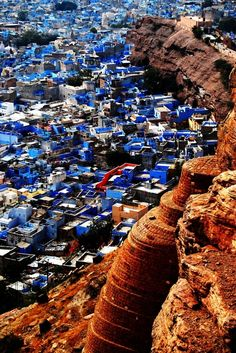 """Jodhpur, India. The city is known as the """"Sun City"""" for the bright, sunny weather it enjoys all the year round. It is also referred to as the """"Blue City"""" due to the vivid blue-painted houses around the Mehrangarh Fort."""