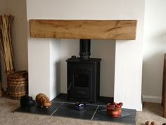 yew wood mantle and log burner - Google Search