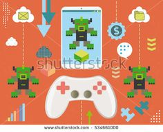 Concept of video game infected by informatic virus inside smartphone, with infographics elements and grunge texture.