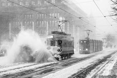 Helsinki: November snowstorm in the city, photo A snow sweeper tram fighting the blizzard on Mannerheimintie street in the city centre. Helsinki, Finland, Sky, Black And White, Street, Places, Outdoor, November, Trains